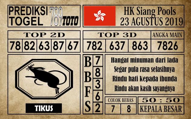 Prediksi Hongkong Pools Siang 23 Agustus 2019