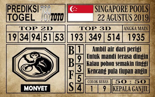 Prediksi Singapore Pools 22 Agustus 2019