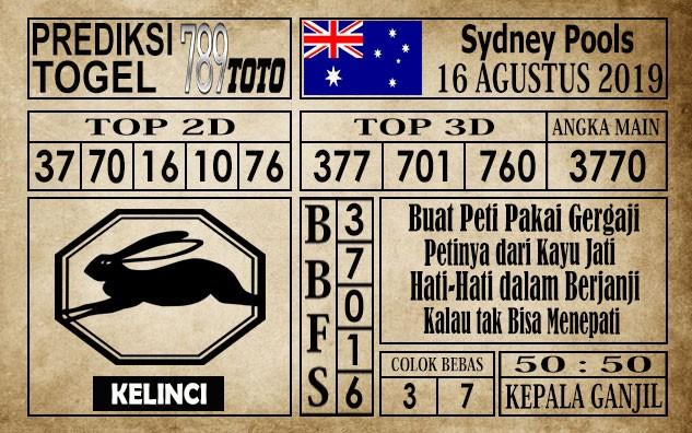 Prediksi Togel Sydney Pools 16 Agustus 2019