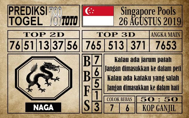 Prediksi Singapore Pools 26 Agustus 2019