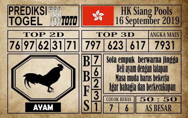 Prediksi Hongkong Siang 16 September 2019