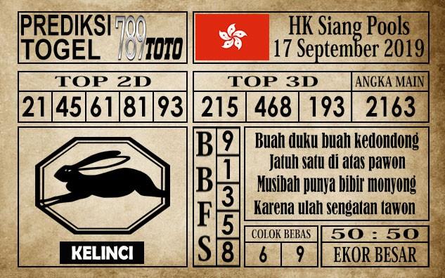 Prediksi Hongkong Siang 17 September 2019