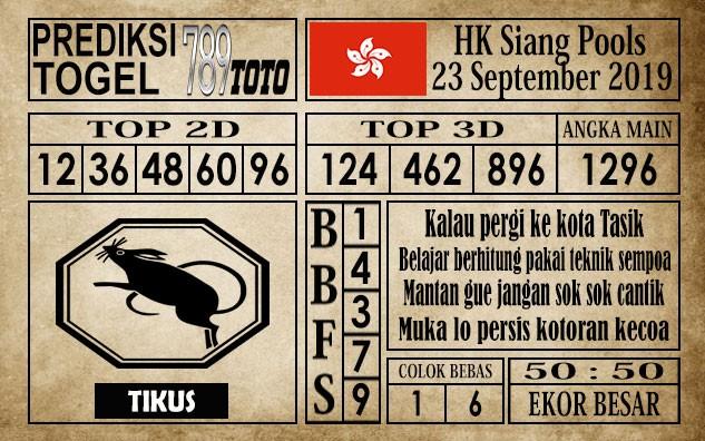 Prediksi Hongkong Siang 23 September 2019