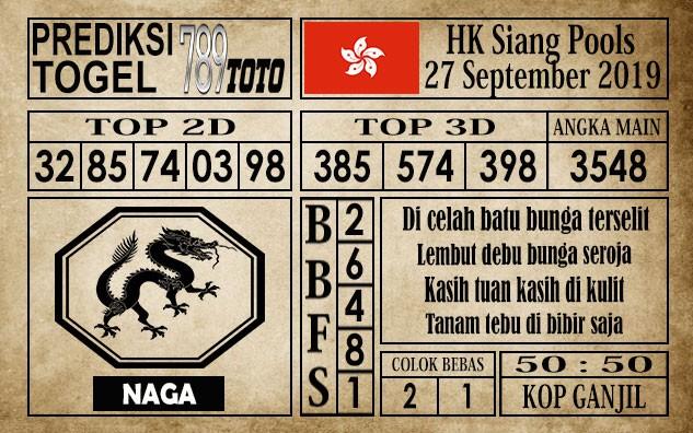 Prediksi Hongkong Pools 27 September 2019