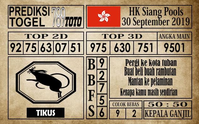 Prediksi Hongkong Siang Pools 30 September 2019
