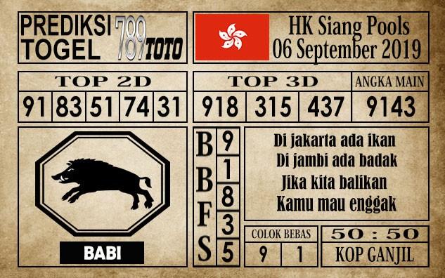 Prediksi Hongkong Siang 6 September 2019
