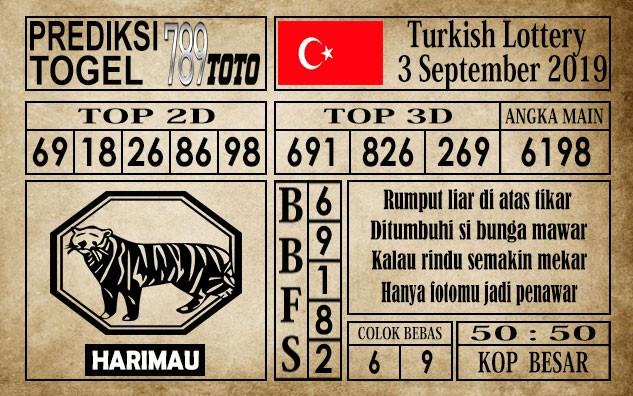 Prediksi Turkish Lottery 3 September 2019
