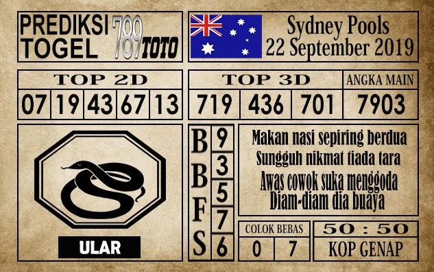 Prediksi Sydney Pools 22 September 2019