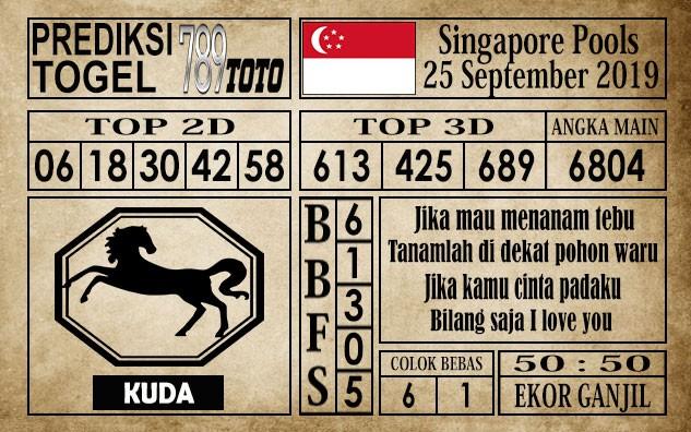 Prediksi Singapore Pools 25 September 2019