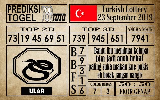 Prediksi Turkish Lottery 23 September 2019
