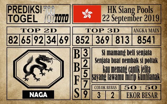 Prediksi Hongkong Siang 22 September 2019