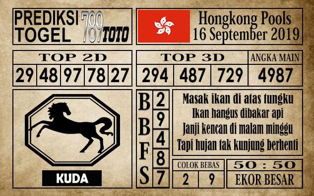 Prediksi Hongkong Pools 16 September 2019