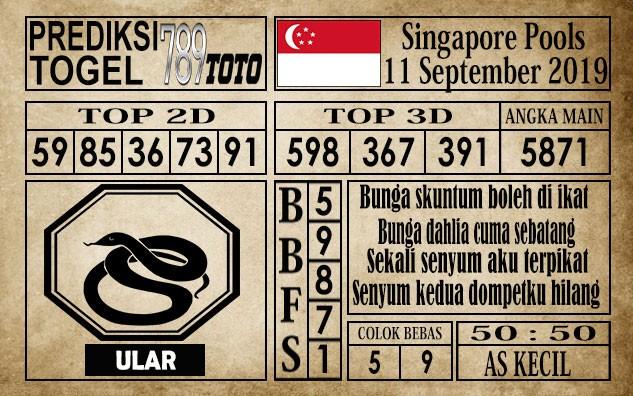 Prediksi Singapore Pools 11 September 2019
