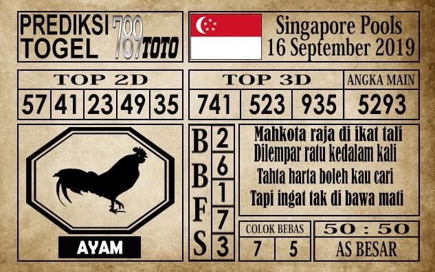 Prediksi Singapore Pools 16 September 2019