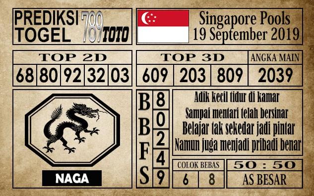 Prediksi Singapore Pools 19 September 2019