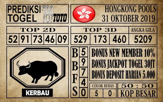 Prediksi Hongkong Pools 31 Oktober 2019
