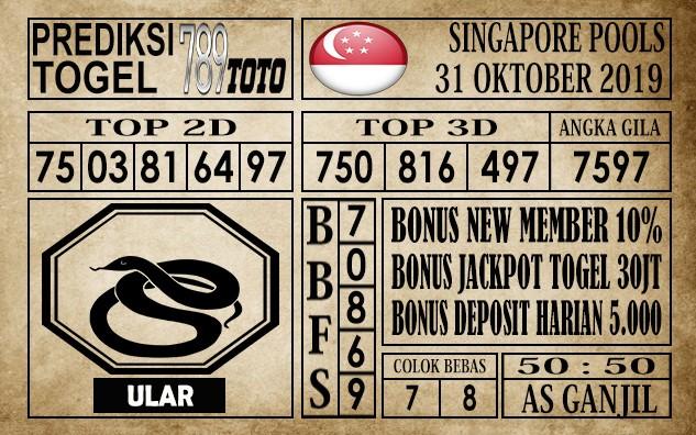 Prediksi Singapore Pools 31 Oktober 2019