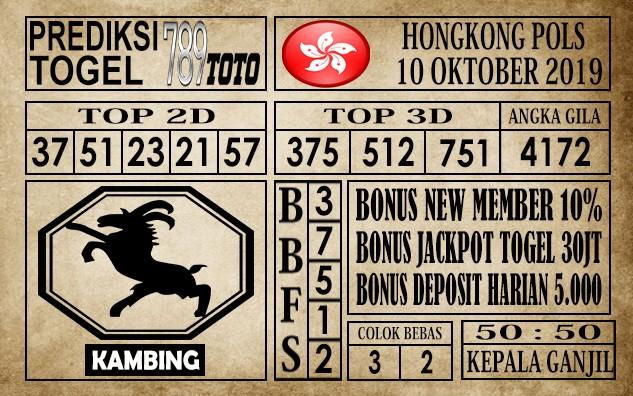 Prediksi Hongkong Pools 10 Oktober 2019
