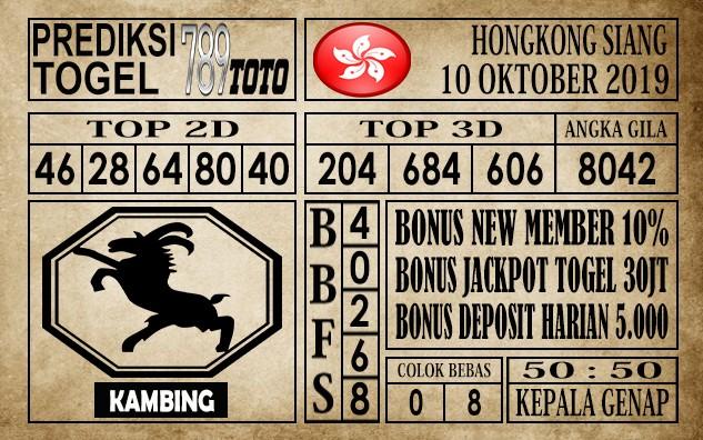 Prediksi Hongkong Siang 10 Oktober 2019