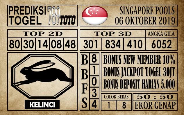 Prediksi Singapore Pools 06 Oktober 2019