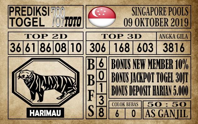 Prediksi Singapore Pools 09 Oktober 2019