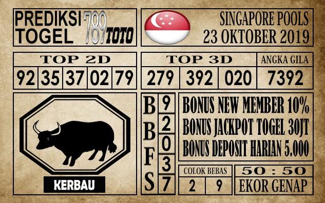 Prediksi Singapore Pools 23 Oktober 2019