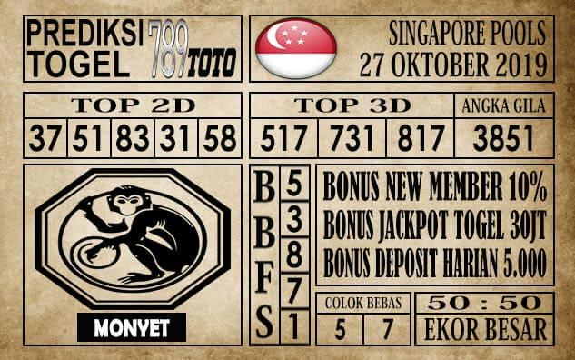 Prediksi Singapore Pools 27 Oktober 2019
