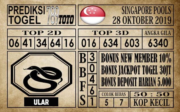 Prediksi Singapore Pools 28 Oktober 2019