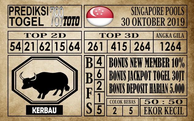 Prediksi Singapore Pools 30 Oktober 2019