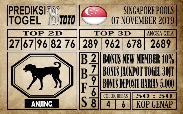 Prediksi Singapore Pools 07 November 2019