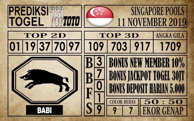 Prediksi Singapore Pools 11 November 2019