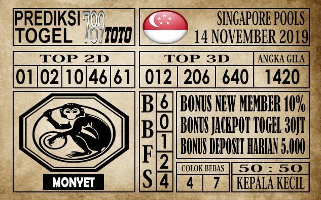 Prediksi Singapore Pools 14 November 2019