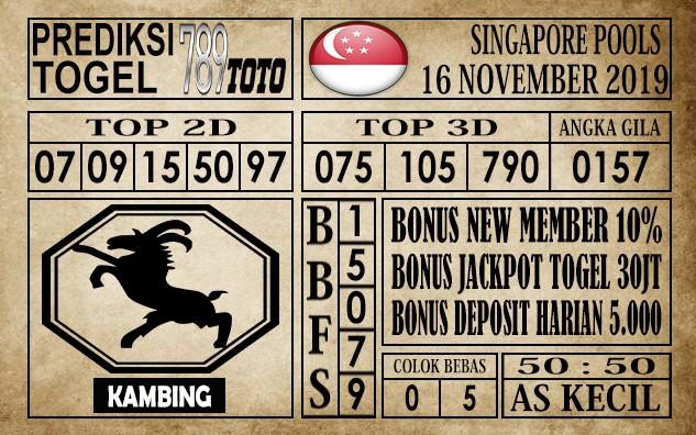 Prediksi Singapore Pools 16 November 2019