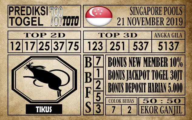 Prediksi Singapore Pools 21 November 2019