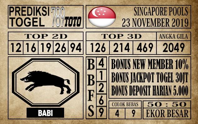 Prediksi Singapore Pools 23 November 2019