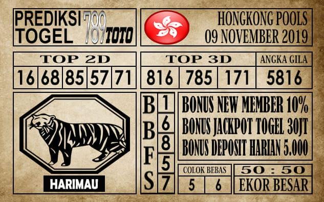 Prediksi Hongkong Pools 09 November 2019