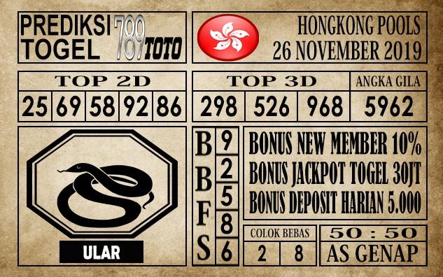 Prediksi Hongkong Pools 26 November 2019