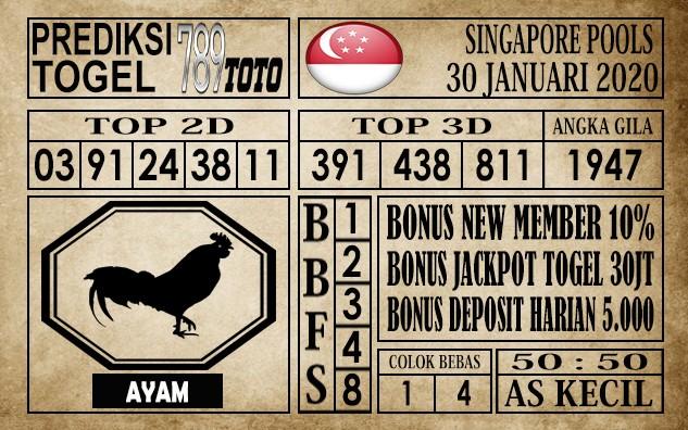 Prediksi Singapore Pools Hari ini 30 Jan 2020