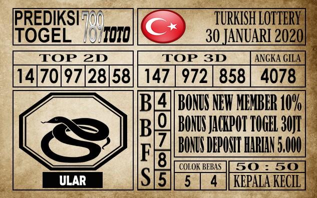 Prediksi Turkish Lottery Hari ini 30 Jan 2020
