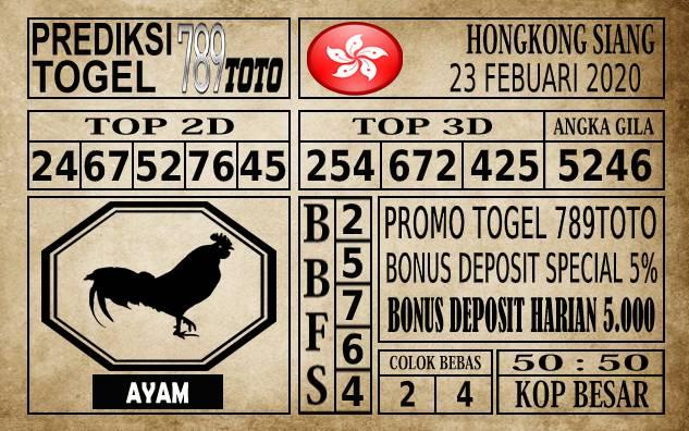 Prediksi Hongkong Siang Hari Ini 23 Feb 2020