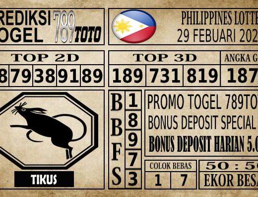 Prediksi Filipina PCSO Hari Ini 29 Feb 2020