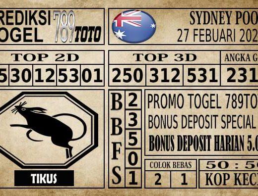 Prediksi Sydney Pools Hari Ini 27 Feb 2020