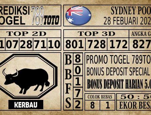 Prediksi Sydney Pools Hari Ini 28 Feb 2020 terupdate selalu dihadirkan sebagai pertimbangan untuk pecinta togel online dalam meracik angka unggulan