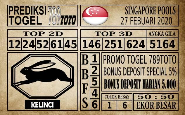 Prediksi Singapore Pools Hari ini 27 Feb 2020