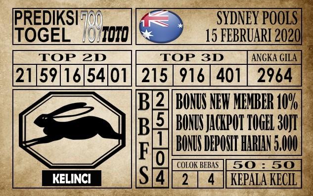 Prediksi Sydney Pools Hari ini 15 Feb 2020