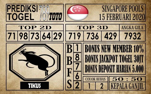 Prediksi Singapore Pools Hari ini 15 Feb 2020