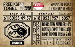 Prediksi Singapore Pools Hari ini 19 Feb 2020