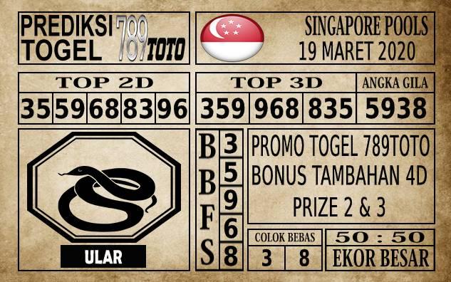 Prediksi Singapore Pools Hari ini 19 Mar 2020