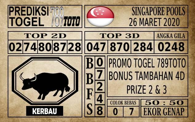Prediksi Singapore Pools Hari ini 26 Mar 2020