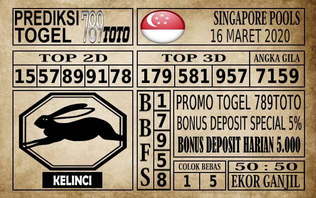 Prediksi Singapore Pools Hari ini 16 Mar 2020